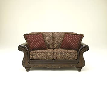 Macneill Umber Collection Traditional Design Loveseat With Ornate Showood Trim