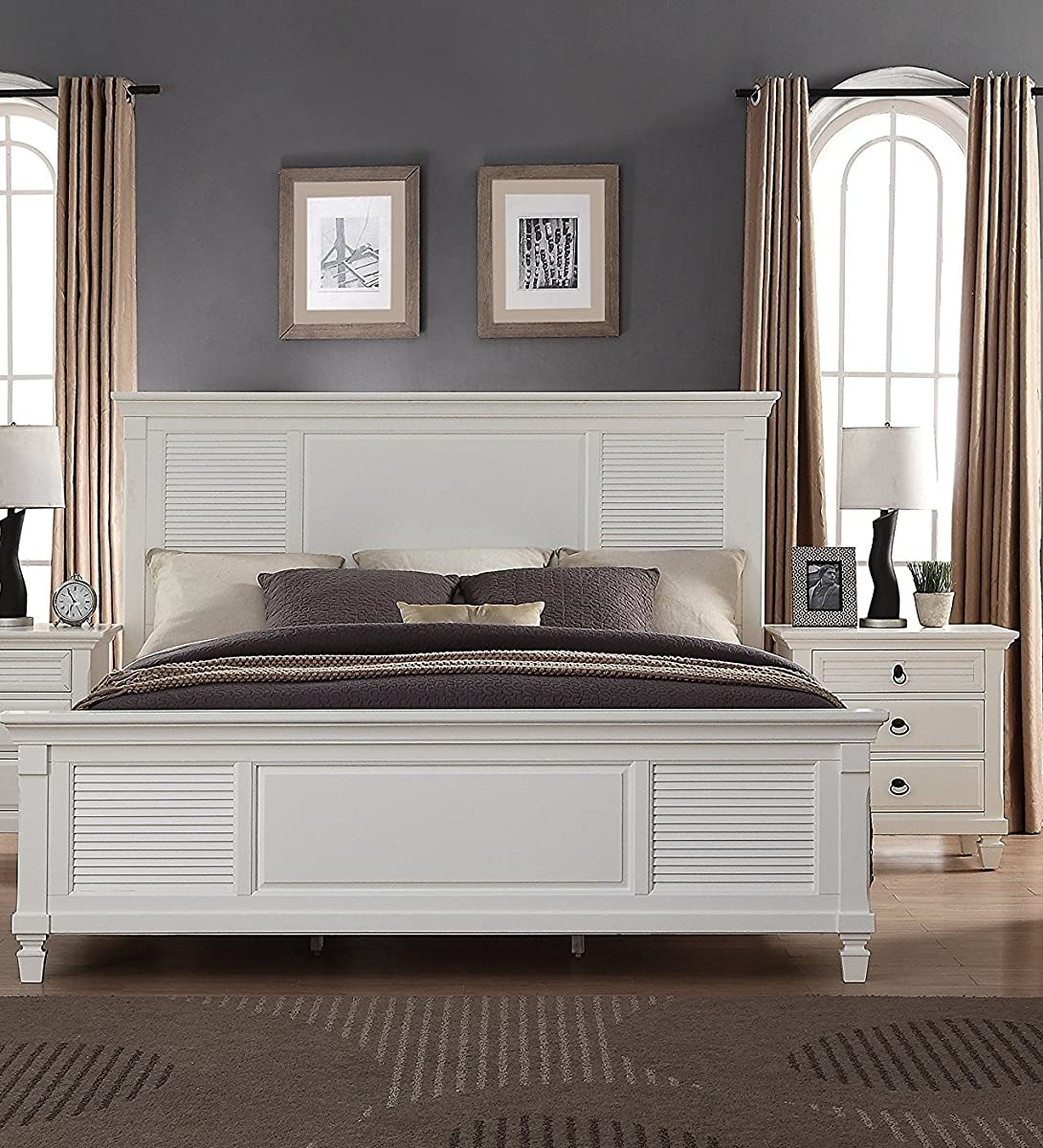 Roundhill Furniture Regitina 016 Bedroom Furniture Set, Queen Bed, Dresser, Mirror, Nightstand and Chest, White