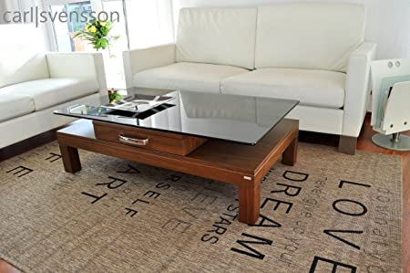 Design Couchtisch V-470H Walnuss / Nussbaum getöntes Glas Carl Svensson