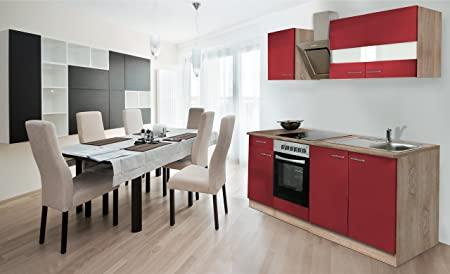 respekta Einbau Kuche Kuchenzeile 210 cm Eiche Sonoma Sägerau Front rot Ceran & Designer-Schräghaube
