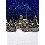 Christmas Blue Night Photo Backdrops House Xmas Tree Wood Fence Snow Floor Winter Photography Studio Backgrounds Fabric 5×7 ft 425