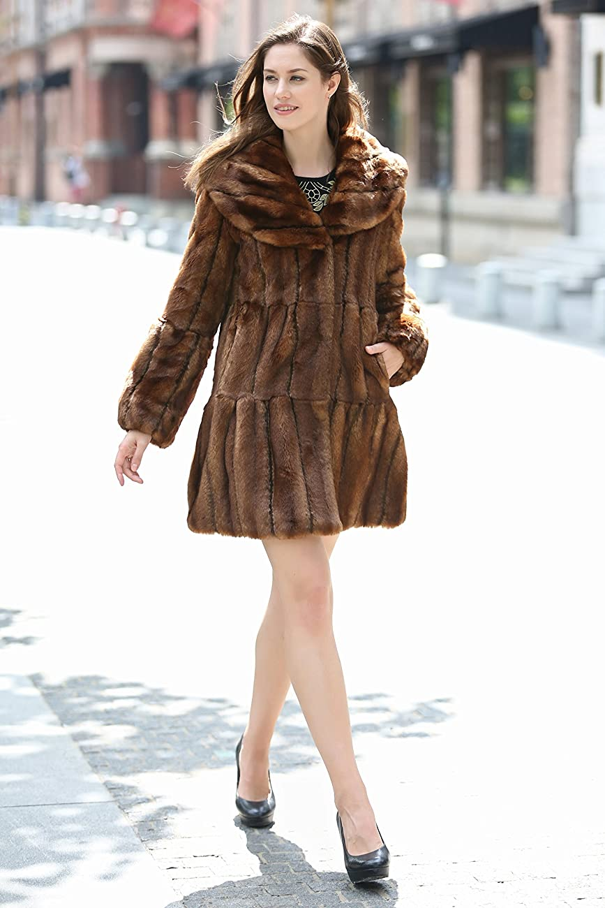Adelaqueen Women's Vintage Style Luxury Faux Fur Coat with Lotus Ruffle Collar 4
