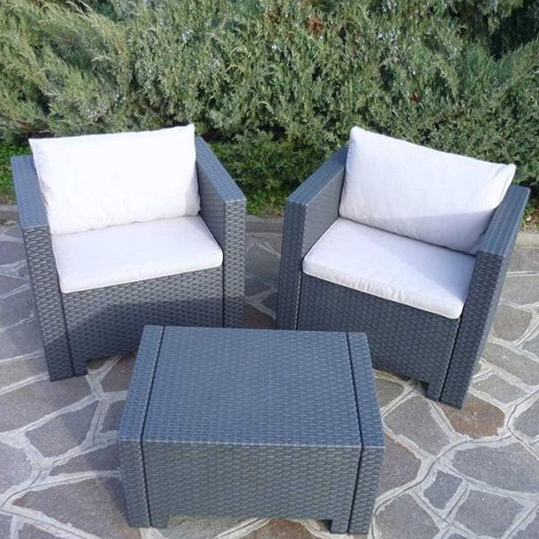Sitzgarnitur anthrazit in Rattan-Optik Lounge Tisch Stuhl innen außen
