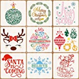 12 x 12 Inch Christmas Stencils Template Reusable Plastic Craft Stencils Merry Christmas Stencil for Art Drawing Painting Spraying Window Glass Door Wood DIY Painting (Christmas Stencils)