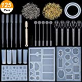 Mtlee Resin Casting Molds and Tools Set, Include Assorted Styles Silicone Molds, Stirrers, Droppers, Spoons, Hand Twist Drill and Screw Eye Pins for Pendant Jewelry Making, 125 Pieces Totally