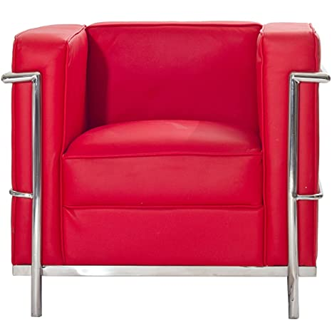 Charles Leather Petite Armchair in Red