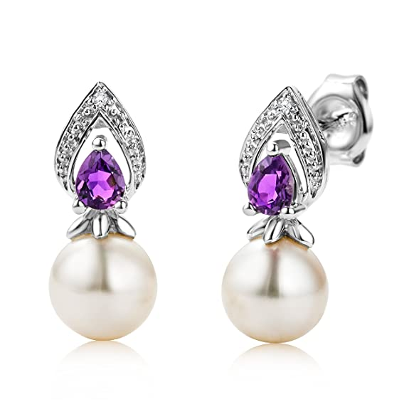 Miore 9ct White Gold Freshwater Pearl, Teardrop Amethyst and Diamond Drop Earrings MG9099E