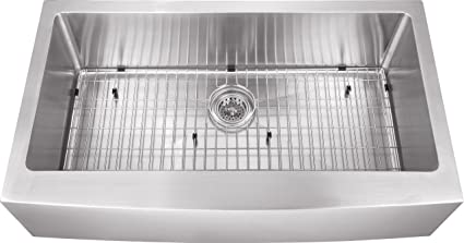 "MSAPSBL - 36""x20""x10"" Apron Front Farmhouse 16 Gauge Stainless Steel Single Bowl Sink INCLUDES Grid Set and Strainer"