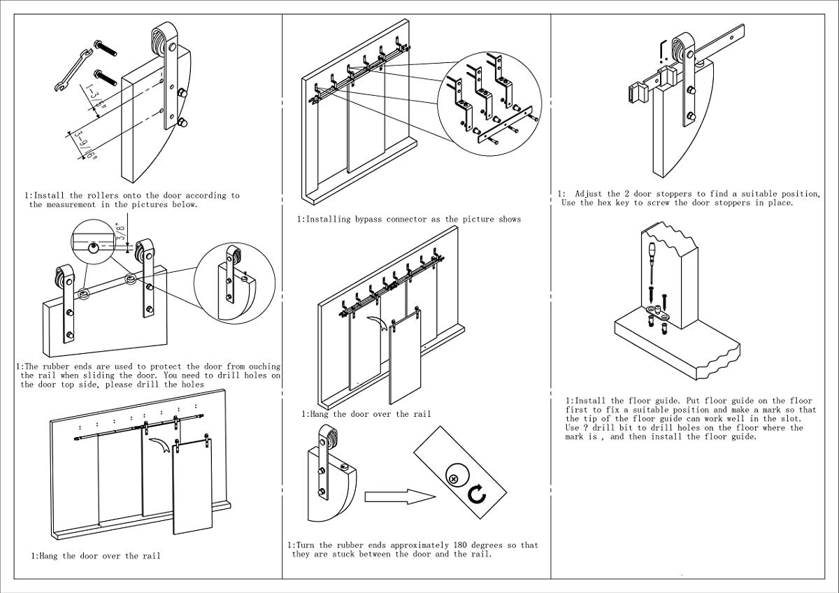 DIYHD 6FT Bypass Sliding Barn Wood Door Hardware Interior Sliding Door Black Rustic Sliding Track Kit (6F-bypass kit)