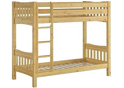 60.15-09 Ni100 Etagenbett hohes Bett Kiefer Massivholz 90x200 cm mit 2 Rollroste