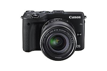 Canon EOS M3 Systemkamera (24 Megapixel, APS-C CMOS-Sensor, WiFi, NFC, Full-HD) inkl. EF-M 18-55 mm IS STM Objektiv und Premium-Zubehör-Kit (Kamera-Jacket, Leder-Trageriemen und 16 GB SD-Karte)