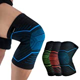 HiRui Compression Knee Brace Knee Sleeve Knee Pad, Basketball Kneepad Football Kneepad, Knee Support for Arthritis, ACL, Tendon, Running, Cycling, Pain Relief, Unisex (Blue, L) (Color: Blue, Tamaño: Large)