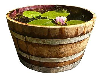 demi tonneau de vin en bois de ch ne transform en pot fleurs ou mini tang diam tre 70 cm. Black Bedroom Furniture Sets. Home Design Ideas