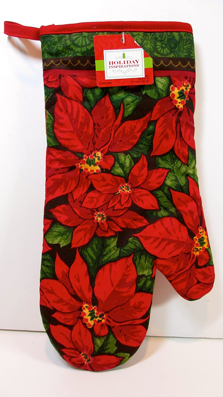 Poinsettia Oven Mitts Kitchen Sets Christmas Wikii - Michel design works kitchen towel