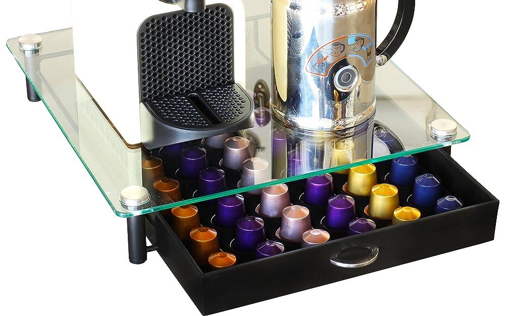 decobros crystal tempered glass nespresso storage drawer. Black Bedroom Furniture Sets. Home Design Ideas