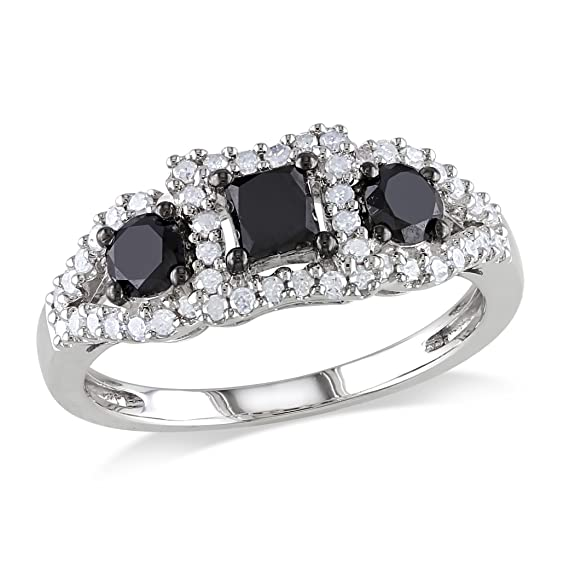 Sterling Silver Black and White Diamond Fashion Ring (1 Cttw, H-I Color, I2-I3 Clarity)