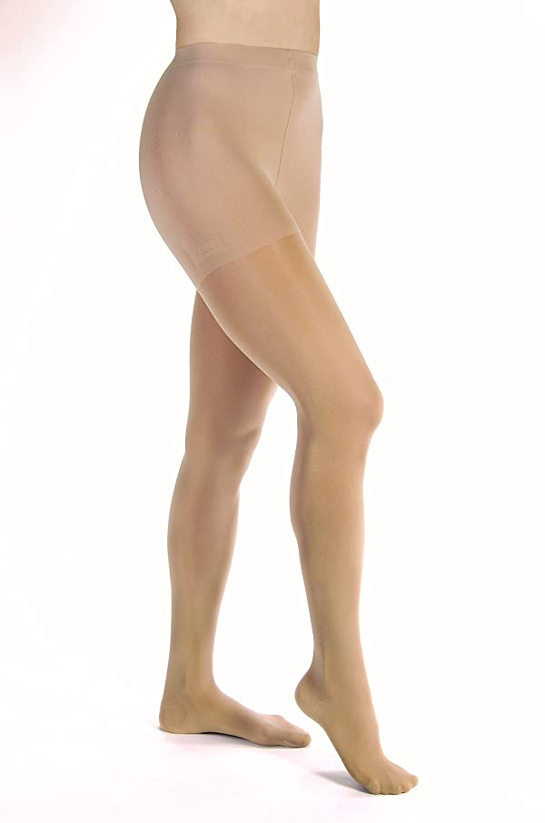 JOBST Opaque Waist High 15-20 mmHg Compression Stockings Pantyhose, Closed Toe, Large, Natural (Color: Natural, Tamaño: Large)