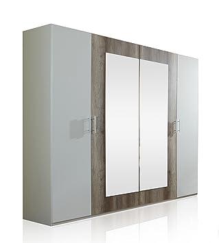 Wimex 795750 Kleiderschrank 4-turig 225 x 210 x 58 cm, zwei Spiegelturen, Front und Korpus alpinweiß / Absetzungen Wildeiche-Nachbildung