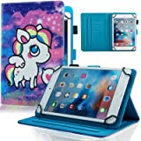 Universal Case for 6.5-7.5 inch Tablet, Dteck Slim Light PU Leather Protective Case with Card Slots Cute Cartoon Flip Stand Wallet Cover for All 6.5-7.5 inch iPad Android Windows Tablet,Purple Pony (Color: #1 Purple Pony, Tamaño: For 6.5-7.5 inch tablet)