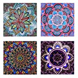 4 Pack 5D DIY Diamond Painting Set Decorating Cabinet Table Stickers Full Drill Rhinestone Diamond Embroidery Paintings Pictures, Mandala Flower Painting(25X25CM/9.8X9.10inch) (Color: Purple)