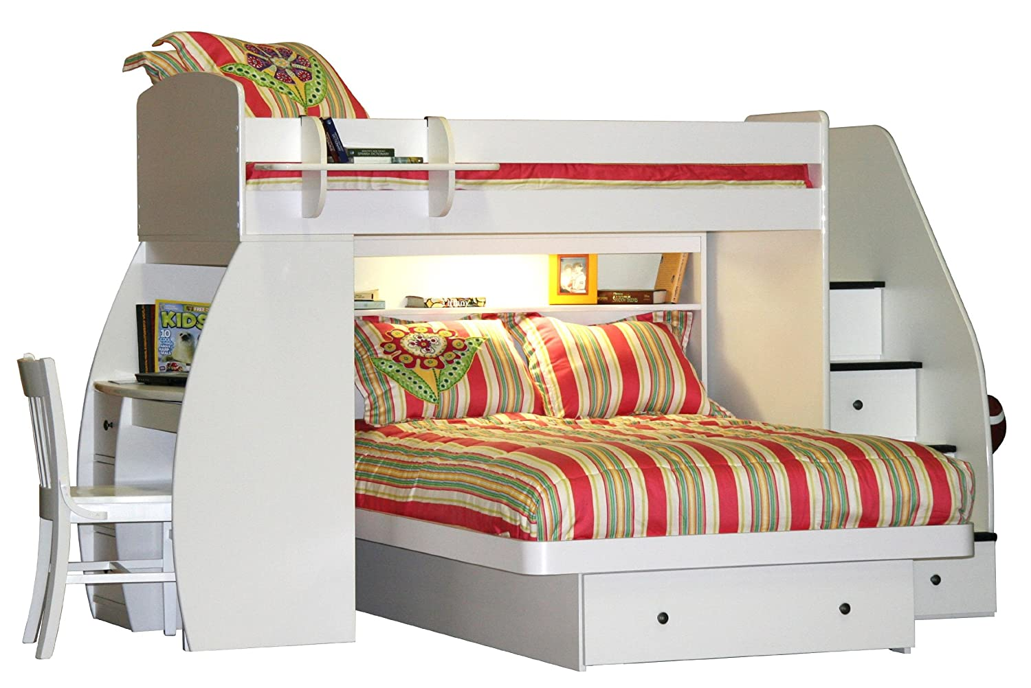 Twin Over Full Bunk Bed with Desk and Stairs CHECK PRICE