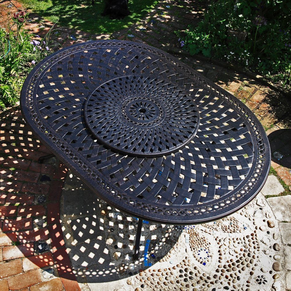 Rosemary 210 x 150cm Ovales Gartenmöbelset - 1 ROSEMARY Tisch + 8 APRIL Stühle