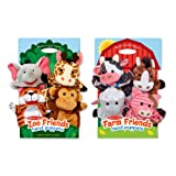 Melissa & Doug Animal Hand Puppets (Set of 2, 4 animals in each) - Zoo Friends and Farm Friends