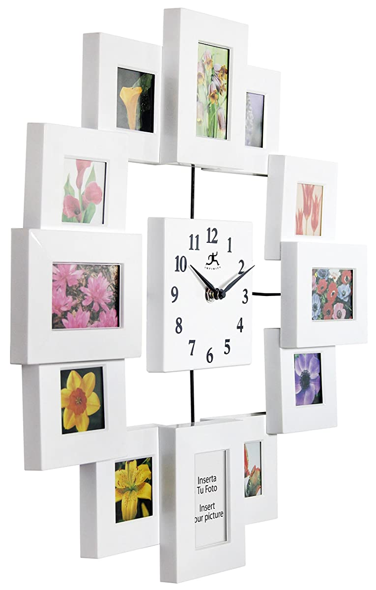1575 inch modern wall clock with picture frames time capsule by modern wall clock with picture frames time capsule by infinity instruments jeuxipadfo Image collections