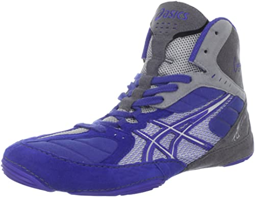 black and purple asics wrestling shoes