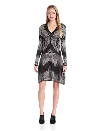 BCBGMAXAZRIA Women's Katia Electric Strokes Jacquard Dress, Honey