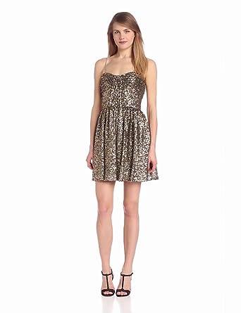 Jill Jill Stuart Women's Strapless Sequin Party Dress, Burnished Gold, 2