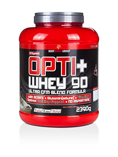 BWG Opti+ Whey 90 Protein, Eiweißshake, Muscle Line, Kirsche, 1er Pack (1 x 2390g Dose)