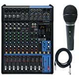 Yamaha MG12XU 12 Input, 4 Bus Mxer (with Compression, Effects, USB) w/ Microphone and Cable (Color: Black)