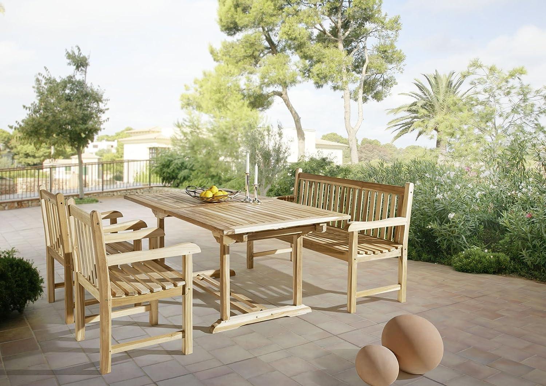 SAM® Gartengruppe Caracas, 4 teilig, Gartenmöbel aus Teak-Holz, mit 2 x Garten-Sessel Caracas und 1 x Garten-Bank Caracas, Auszieh-Tisch mit Schirmloch, Terrassen-Möbel aus Holz, Teakholz-Möbel günstig