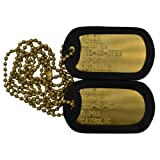 Custom Milspec Personalized Brass Dogtag Set with Chains and Silencers. Dog TAG