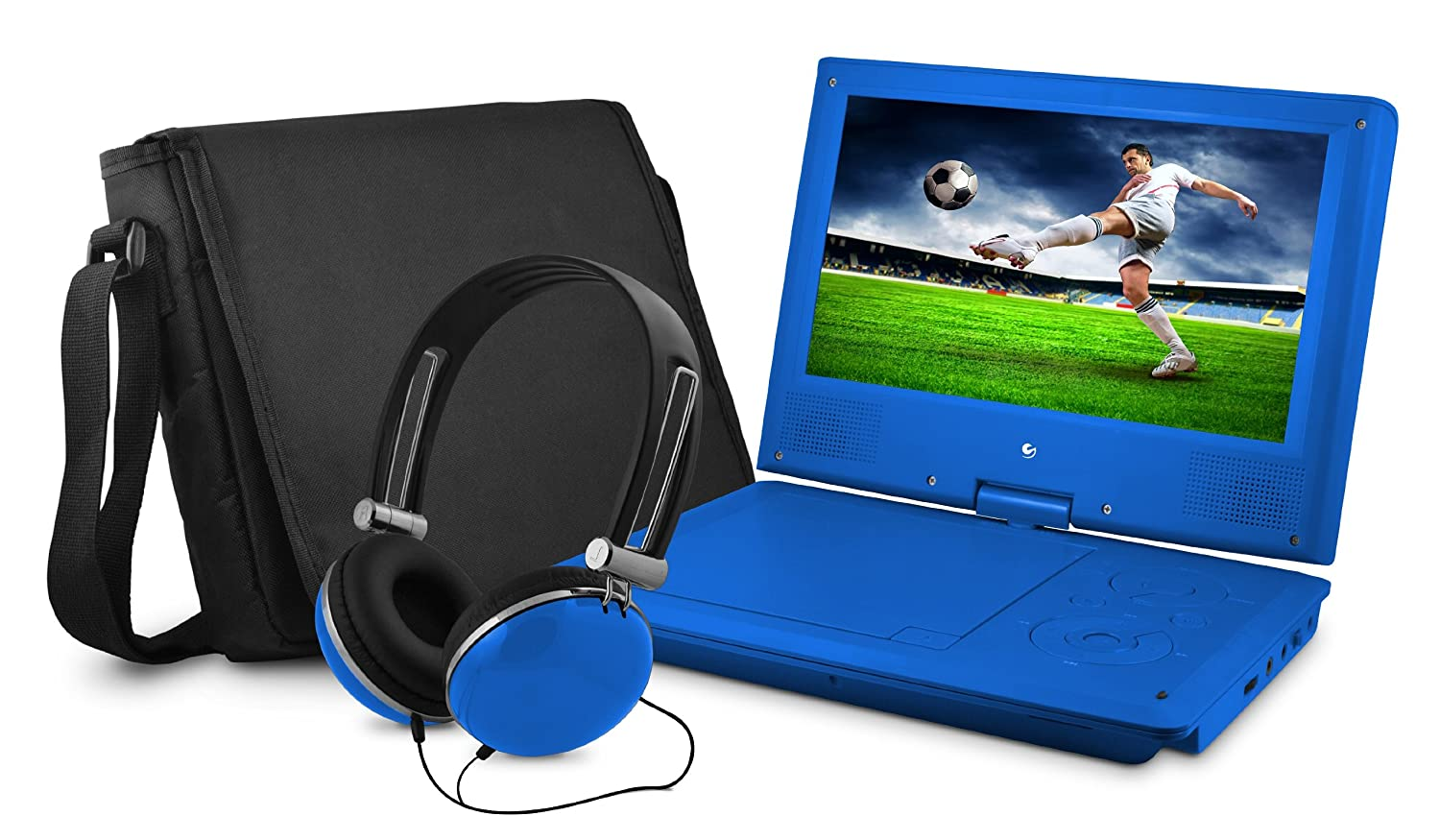 DVD Player, Ematic 9 inch Swivel Blue Portable DVD Player with Matching Headphones and Bag ( EPD909BU )