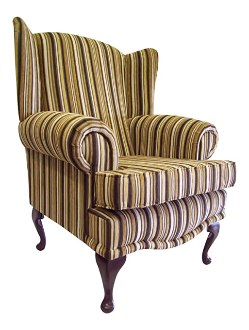 Cottage/Wing Back/ Queen Anne Chair in Argent Gold Stripe Chenille Fabric on QA Legs