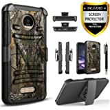 Moto Z2 Play Case, Circlemalls Dual Layers [Combo Holster] +Built-In Kickstand Bundled With [Premium HD Screen Protector] Hybird Shockproof +Stylus Pen For Motorola Moto Z2 Play 2nd Gen (Camo) (Color: Camo)
