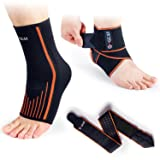 4GEAR Ankle Support Kit - 2 Pack - Ankle Brace Strap & Ankle Compression Sleeve with Arch Supports - Best for Sports Protection, Injury Recovery, Reduce Swelling, Ankle Strain (Large) (Color: Ankle Brace Kit (2pcs), Tamaño: Large)