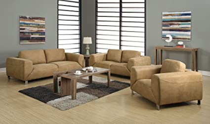 Monarch Specialties Tan/Chocolate Brown Contrast Micro-Suede Love Seat