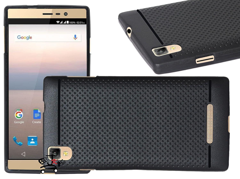 Jkobi 360* Protection Premium Dotted Designed Soft Rubberised Back Case Cover For Panasonic Eluga A2 -Black