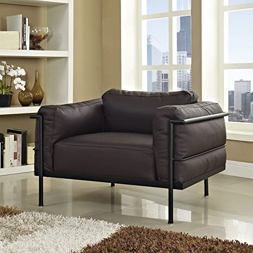 Charles Grande Leather Armchair, Dark Brown