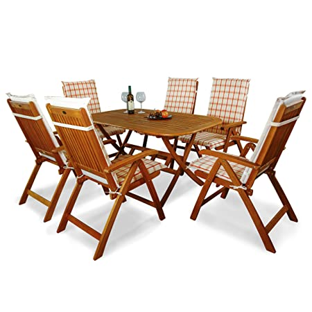 indoba® IND-70064-BASE7 + IND-70410-AUHL - Serie Bangor - Gartenmöbel Set 13-teilig aus Holz FSC zertifiziert - 6 klappbare Gartenstuhle + klappbarer Gartentisch + 6 Comfort Auflagen Karo Orange