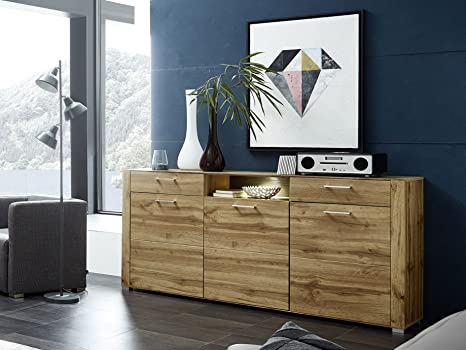 FLORIN Sideboard Eiche Altholz MDF mit Beleuchtung
