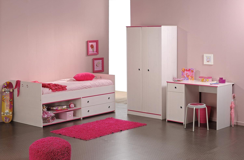 Jugendzimmer mit Bett 90 x 200 cm Kiefer weiss
