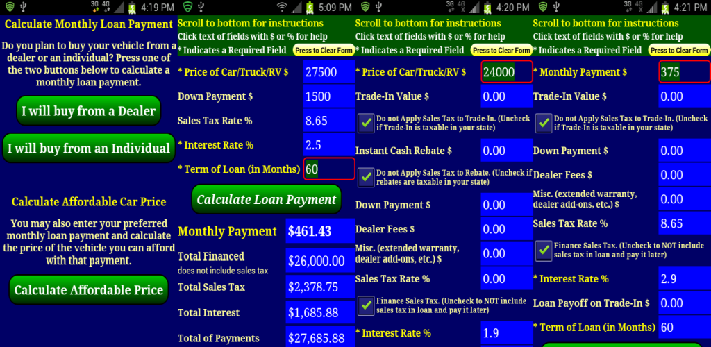 Car Payment Calculator: Amazon.com: Auto Car Truck RV Loan Payment Calculator FREE