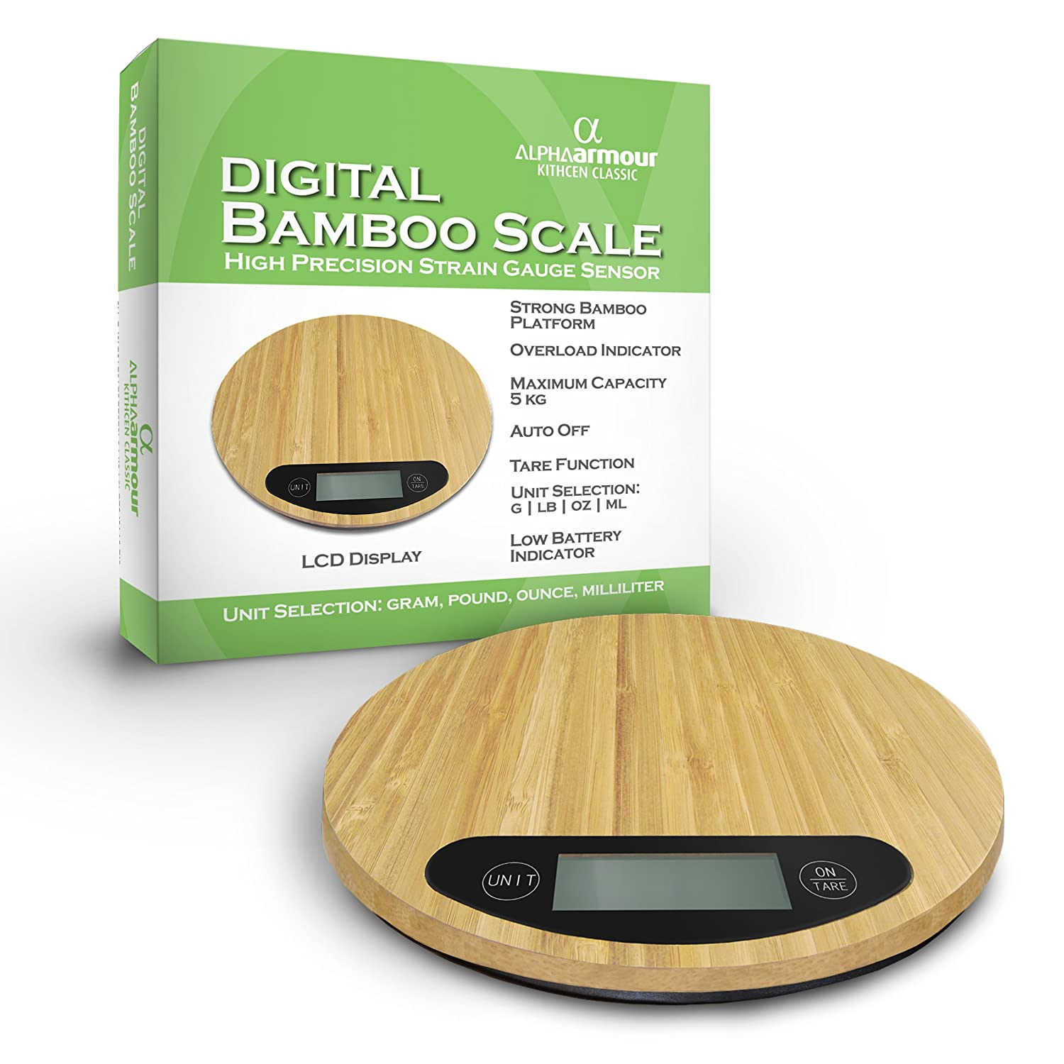 Alpha Armour Classy Bamboo Digital Kitchen Scales
