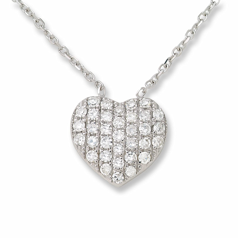 Miore Damen-Halsschmuck 18 Karat (750) Weissgold mit Diamant-Anhänger in Herzform 40 cm MP028N günstig kaufen