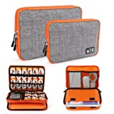 Electronics Organizer, Jelly Comb Electronic Accessories Cable Organizer Bag 2 Pack Travel Cable Storage Bag for Charging Cable, Cellphone, Mini Tablet and More-Large and Medium (Orange and Gray) (Color: Orange and Gray, Tamaño: Large+Medium)