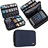 BUBM Double Layer Electronic Accessories Organizer, Travel Gear Bag for Cables, USB Flash Drive, Plug and More, Perfect Size Fits for iPad Mini (Medium, Dark Blue)